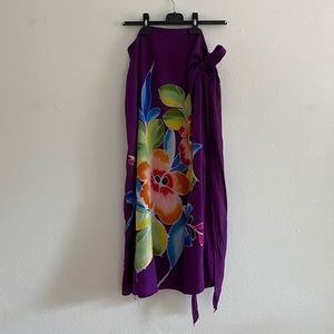 Purple Floral Sarong Tie Skirt